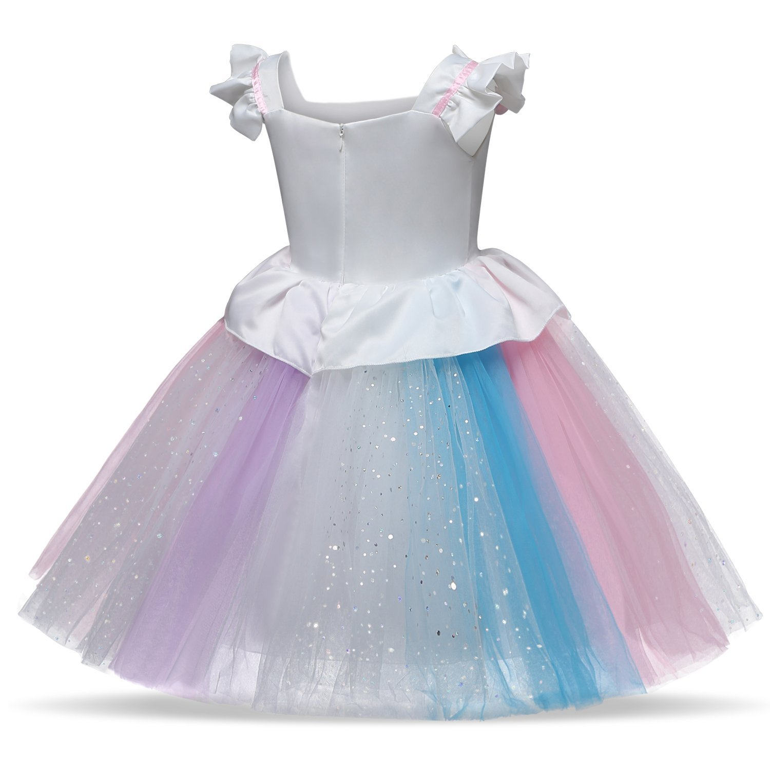 TTYAOVO Girl Flower Kids Unicorn Costume Lace Tulle Princess Pageant Party Dress