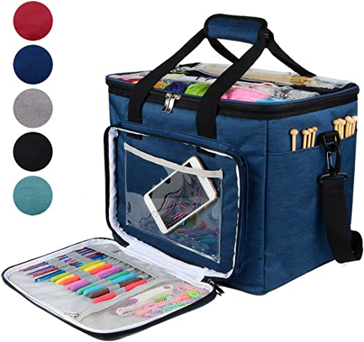 Portable Knitting Storage Bag DIY Yarn Thread Tote Crochet Hooks Organizer Packs