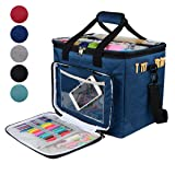 "Hoshin Knitting Bag for Yarn Storage, High Capacity Yarn Totes Organizer with Inner Divider Portable for Carrying Project, Knitting Needles(up to 14""), Crochet Hooks, Skeins of Yarn"