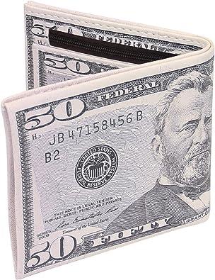 New Men Brown US Dollar Bill Wallet PU Leather Bifold Credit Card Photo Holder B