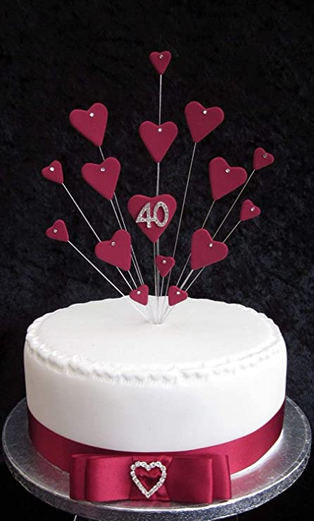 Excellent 40Th Ruby Wedding Anniversary Birthday Cake Topper Ideal For A Funny Birthday Cards Online Aboleapandamsfinfo