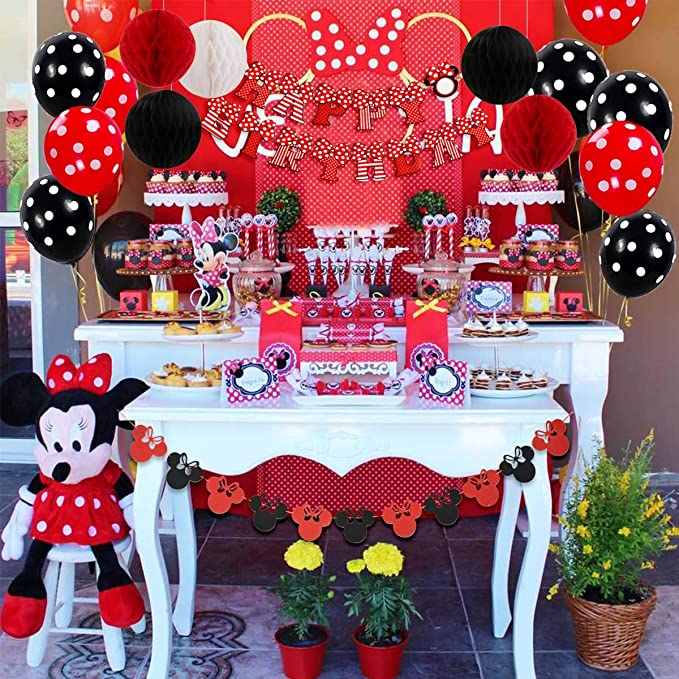 JOYMEMO Minnie Themed Birthday Party Decorations Red and Black for Girls Happy Birthday Banner, Garland, Headband, and Polka Dot Balloons