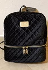Bebe Danielle Velvet Quilted Large Backpack Black