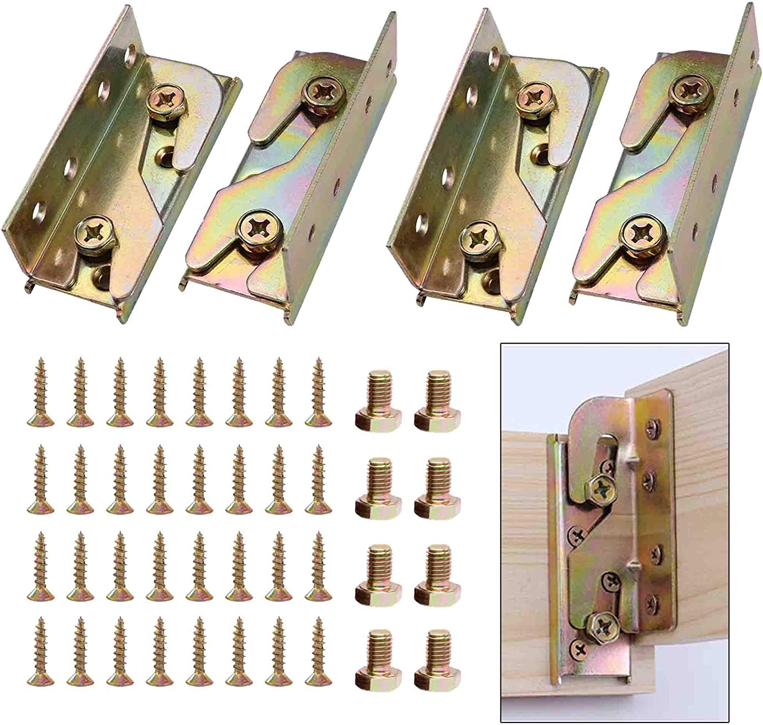 4 Sets Bed Rail Fittings Bed Rail Brackets, Heavy Duty Mental No-Mortise Bed Rail Hinges Frame Connector, Rust-Proof Wood Bed Rail Brackets With Mounting Screws