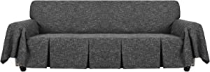 YEMYHOM Linen Sofa Cover Universal Oversized Couch Covers for 3 or 4 Cushion Couch Pet Dog Sofa Slipcover Living Room Furniture Protector Extra Large Slip Cover with Ruffles (XL Sofa, Charcoal Gray)