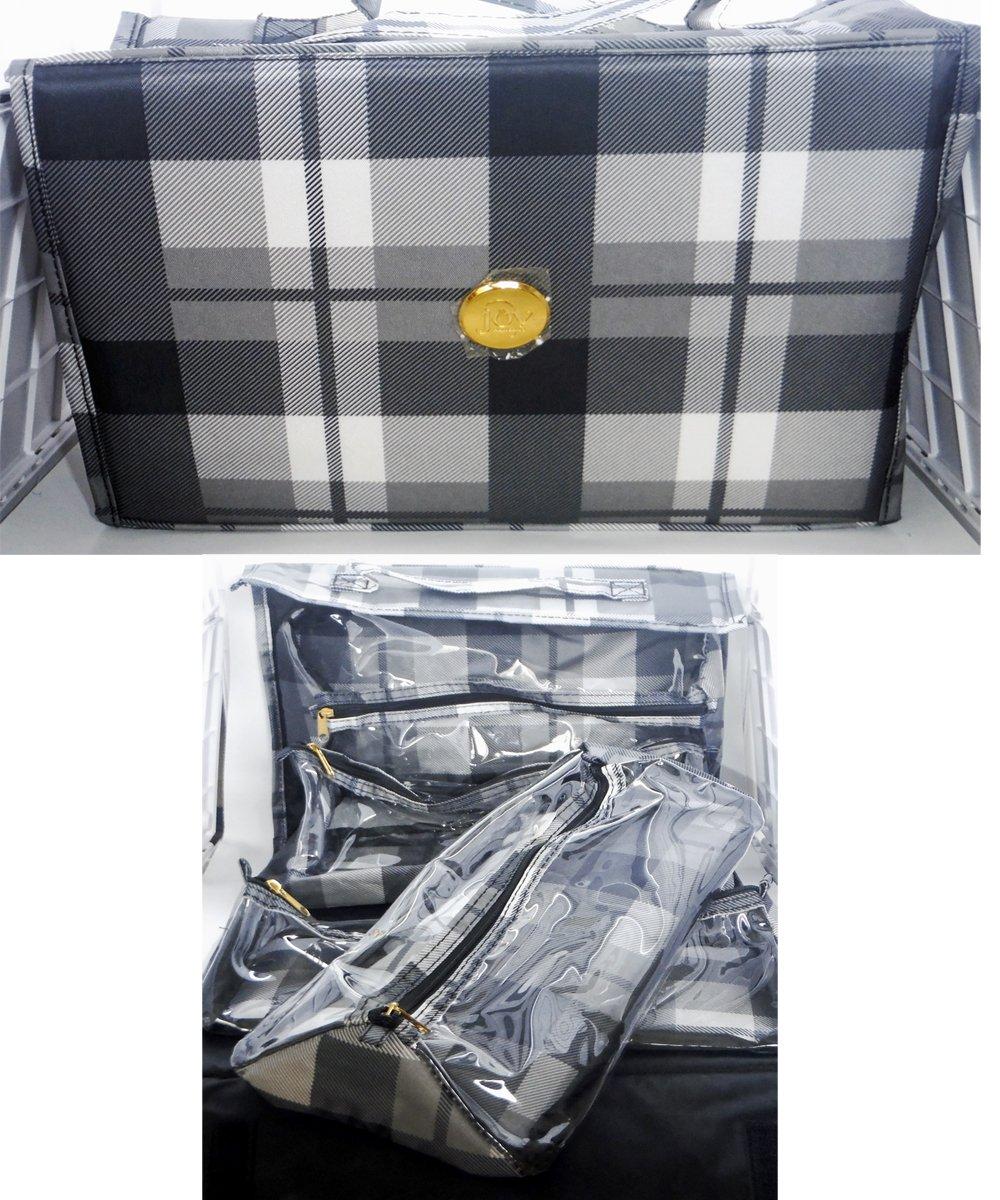 Joy Mangano Deluxe XL Better Beauty Case ~Black Plaid