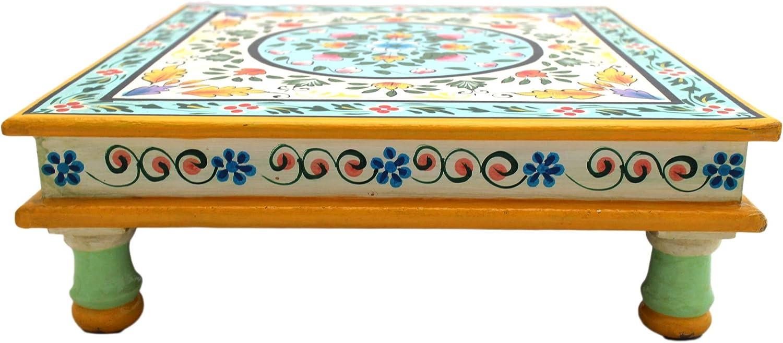 Gall/&Zick Couchtisch Beistelltisch Sofatisch Dekotisch Magoholz//MDF Holz Handbemalt Orientalisch Indisch Bunt Handarbeit Deko Mandala Wei/ß