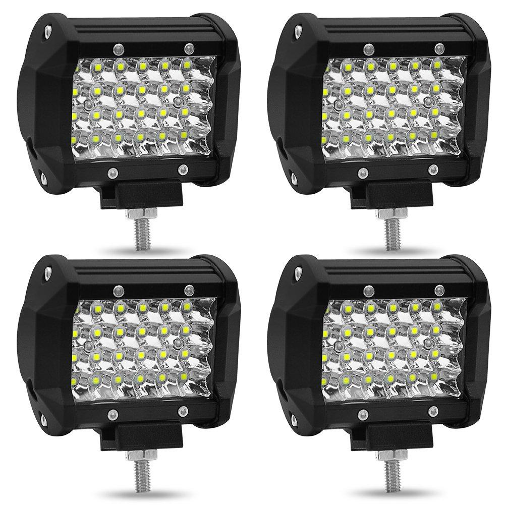 Fashionwu 2pcs/4pcs 4 inch 72W 4 Row LED Strip Lights Off-Car Top Refit Light Bar Working Lamp