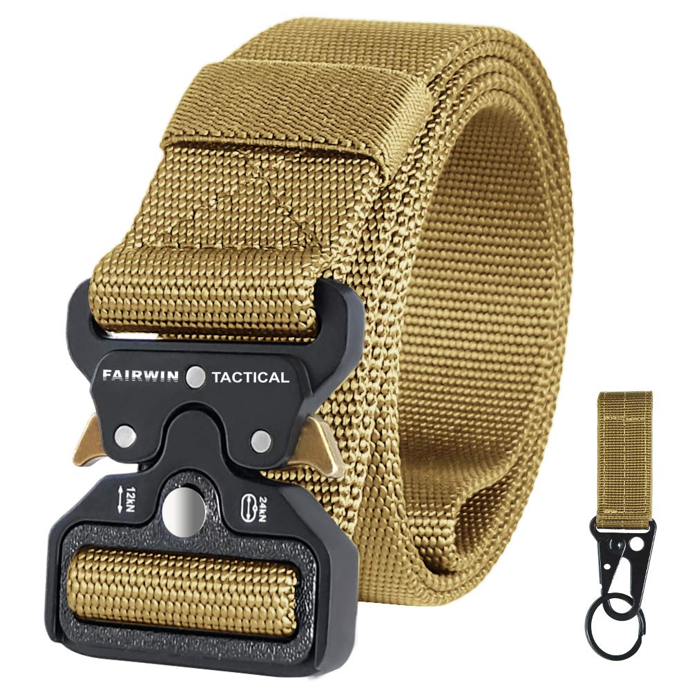 Fairwin Tactical Belt for Men, Military Style Nylon Web Belt with Heavy-Duty Quick-Release Metal Buckle (Brown, M (Waist 36''-42'')) by Fairwin