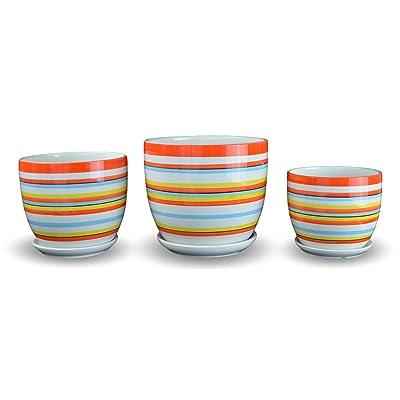 Festcool Set of 3 Orange Multicolor Stripes Porcelain Ceramic Planters Flower Pots: Garden & Outdoor