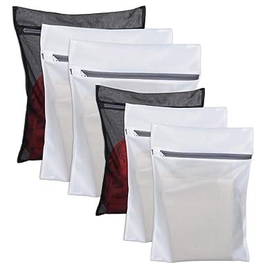 6 Pack Laundry Bag Delicates Mesh Wash Bag For Hosiery, Underwear, Bra ,Garment Lingerie Effective Protection Travel Storage Organize Zipped Drying Machine Washing Bag ( 3 Large, 3 Medium)