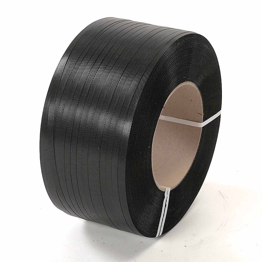 Polyester Strapping - -1/2''X3600' - 16X3'' Core - Black - Lot of 2