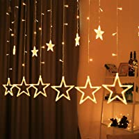 Star Curtain Lights 12 Stars 138 LED String led Light 2.5 Meter for Home Indoor Outdoor Christmas Decoration - Strip led Light for Party Birthday Valentine Room Decor - Christmas Decorations Items