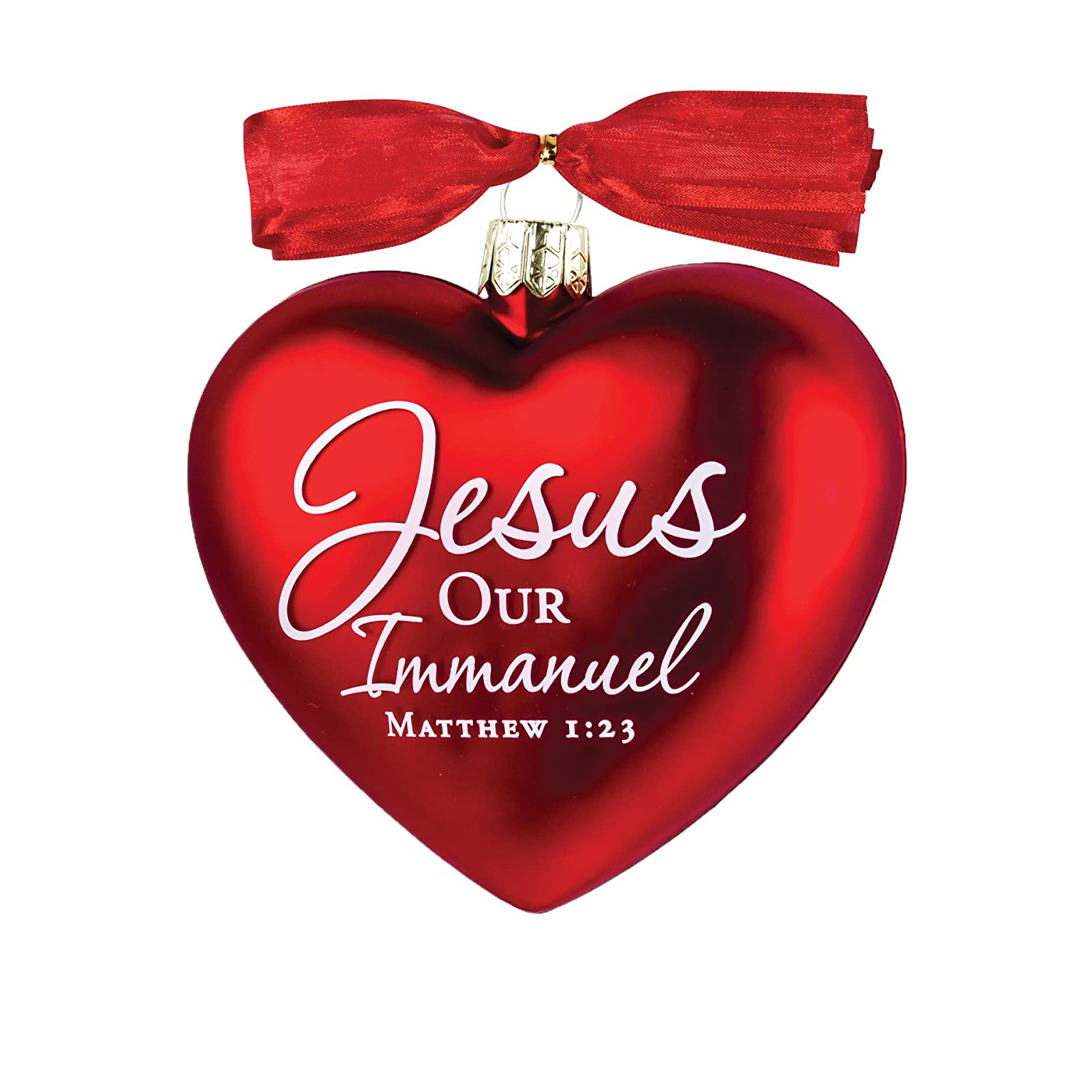Amazon.com: Jesus Christmas Heart Ornament with Red Satin Ribbon ...