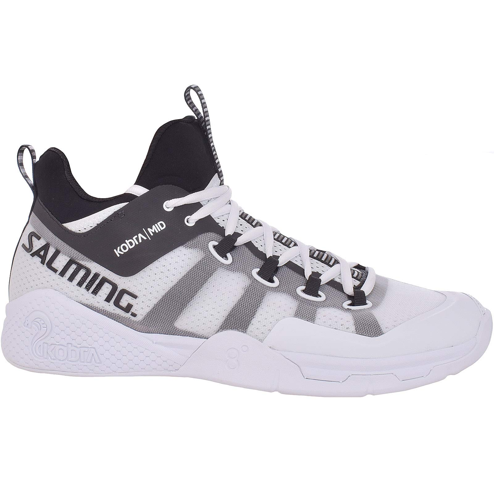 Salming Men's Kobra Mid 2 Squash Indoor Court Sports Shoes, White/Black, 11 by Salming