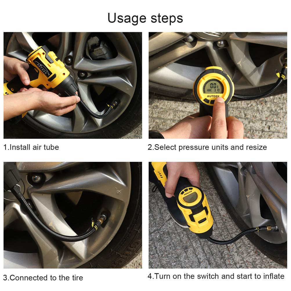 Cordless Car Tire Pump with Rechargeable Li-ion Battery AUTDER Tyre Inflator Air Compressor