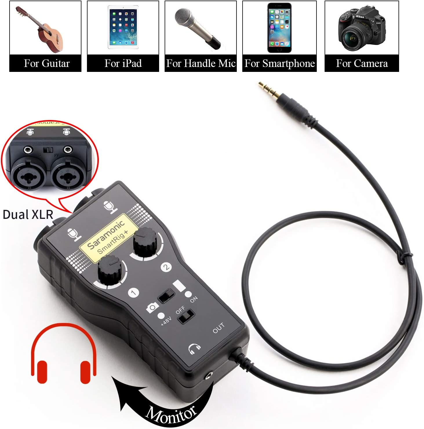 iPhone iPad and Android Smartphones Camcorders iPod Saramonic SmartRig+ 2-Channel XLR//3.5mm Microphone Audio Mixer with Phantom Power Preamp /& Guitar Interface for DSLR Cameras