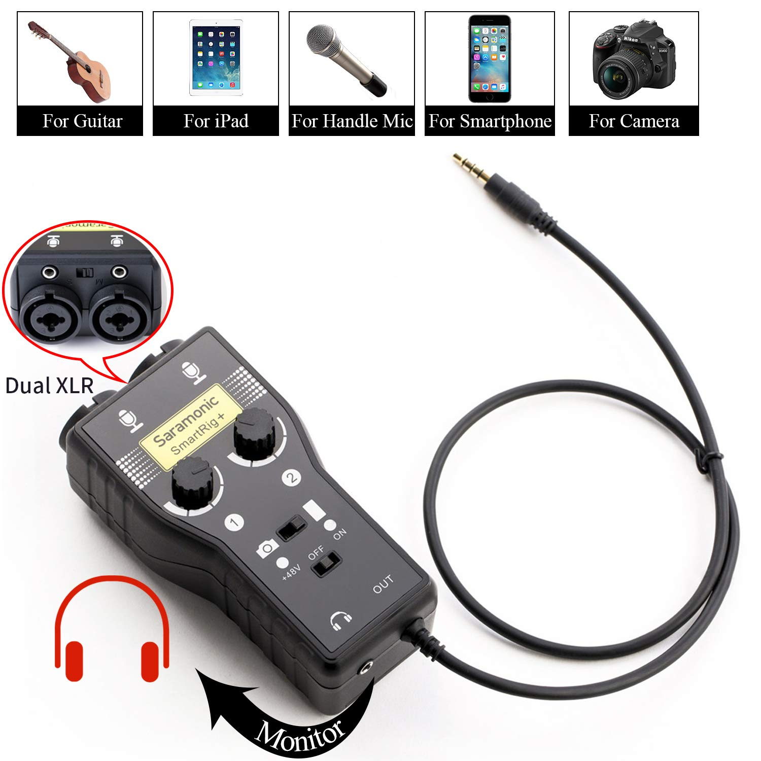 Saramonic SmartRig+ 2-Channel XLR/3.5mm Karaoke Microphone Audio Mixer with Preamp & Guitar Interface for DSLR Cameras Camcorder iPhone X 8 8x 7 7 plus iPad iPod Android Smartphone Guitar by Saramonic