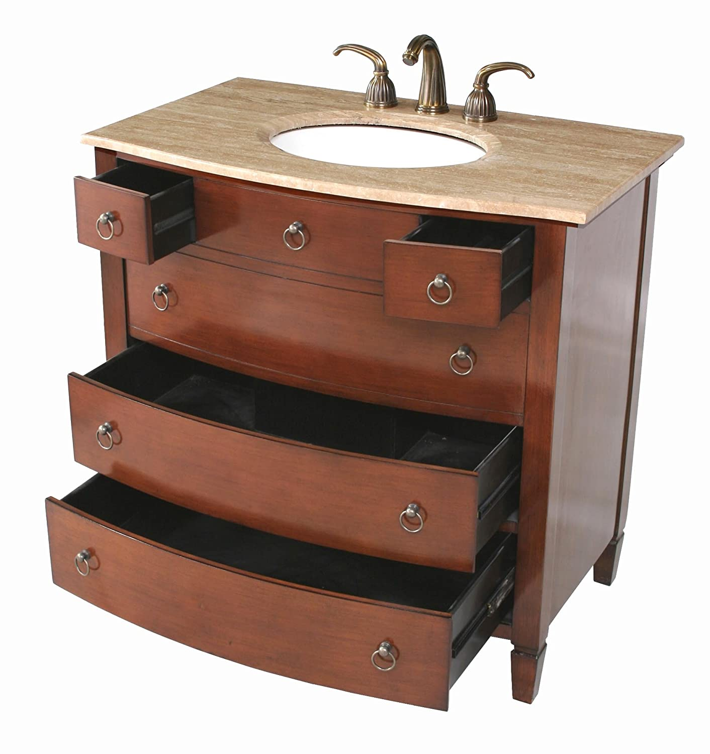 Stufurhome GM 2201 36 TR 36 Inch Augustine Single Vanity In Dark Cherry  Finish With Marble Top In Travertine With White Undermount Sink   Bathroom  Vanities ...