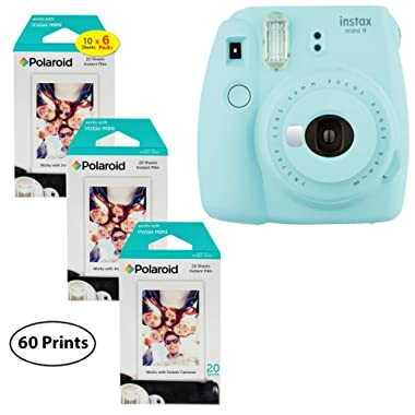 Fujifilm Instax Mini 9 Instant Camera (Ice Blue), 3X Twin Pack Instant Film (60 Sheets) Bundle