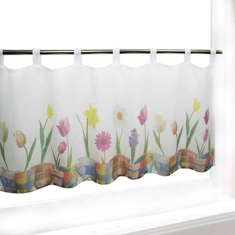 Tenda per finestre TULIPANI, adatta a cucina, bagno e salotto / tenda con motivo floreale / 45x120 cm / tendina moderna trasparente Tischdeckenshop24