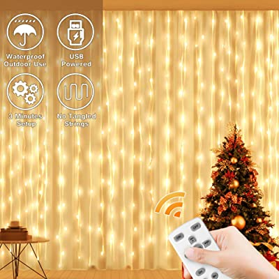 Megulla Curtain Lights, USB 300LED Fairy Twinkle Lights with Timer, Dimmer, Clear Wire, Icicle Lights for Wedding, Party, Girls Bedroom Decorations Patio Christmas Backyard-Warm White : Garden & Outdoor