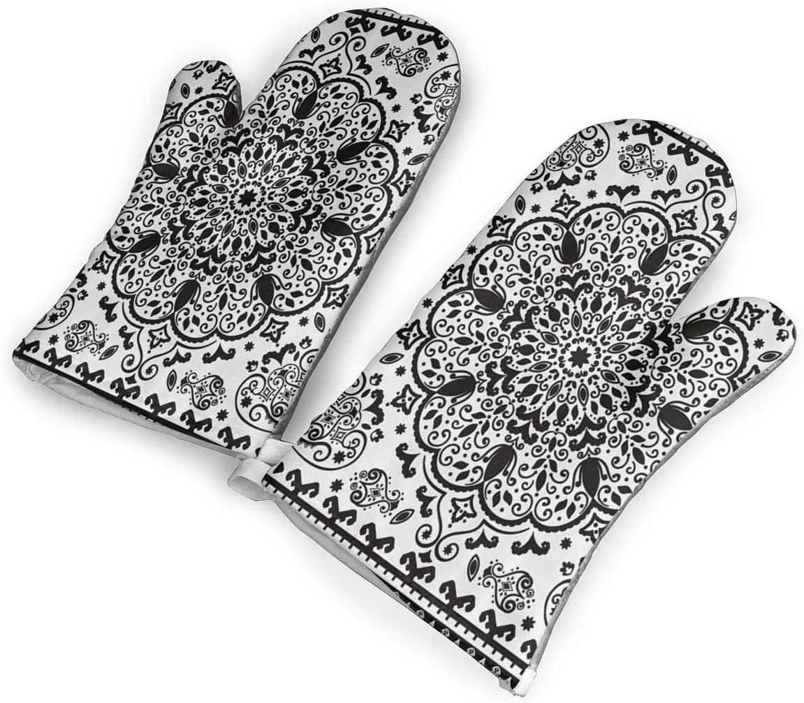 VshiXzno Mandala Floral Lace Paisley Mehndi Design Oven Mitts,Professional Heat Resistant to 500¡« F,Non-Slip Kitchen Oven Gloves for Cooking,Baking,Grilling,Barbecue Potholders