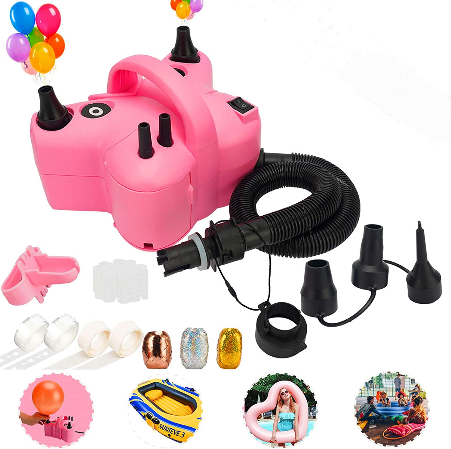Electric Balloon Pump,Portable Dual Nozzle Pink 110V 600W Electric Balloon Blower / Inflator with Multipurpose Hose Extension and Nozzles for Inflatables Couch,Pool Floats,Compression Bag,Bonus Tying Tool,Flower Clips,Tape Strip,Colored Ribbons and Dot Glues for Party Decoration