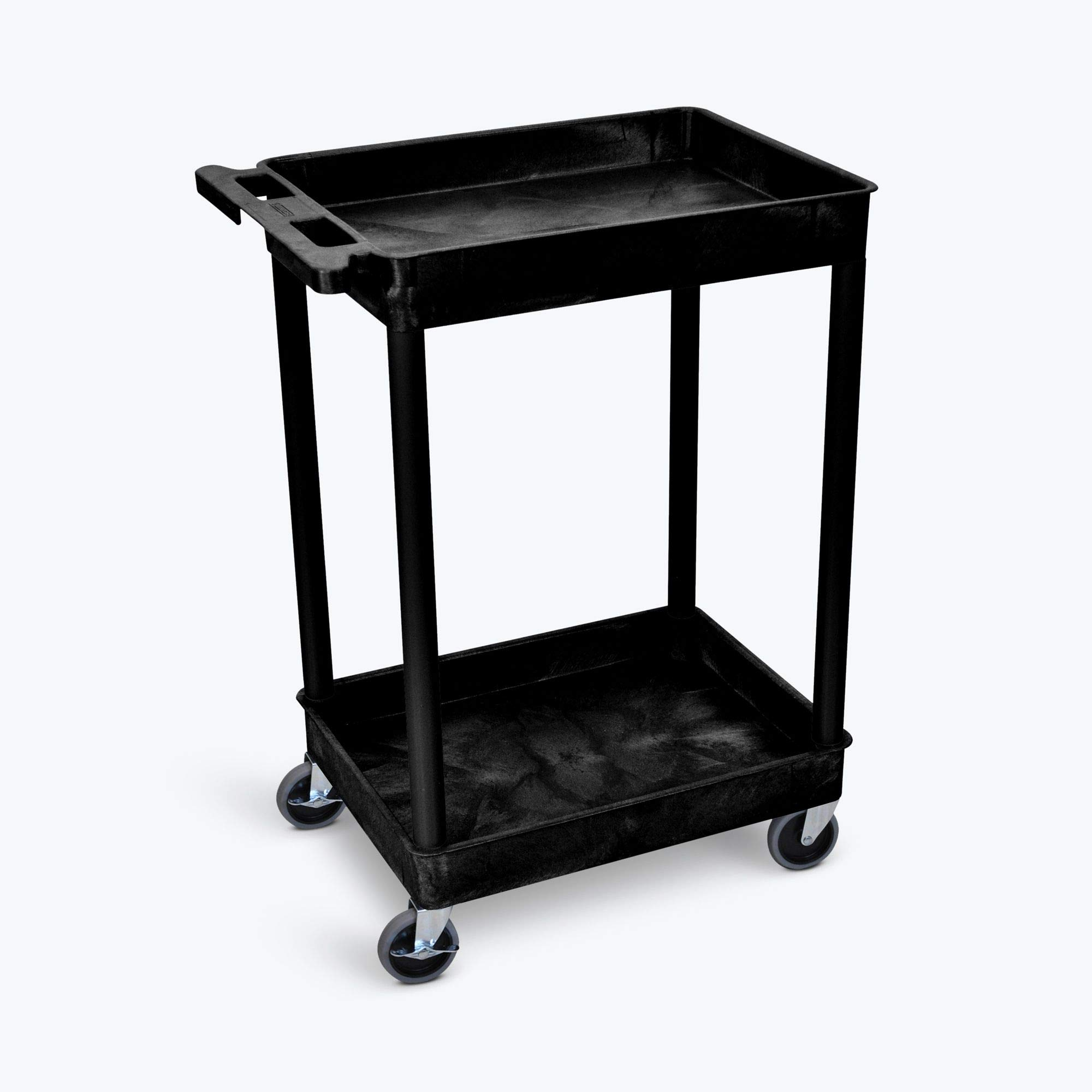 Offex OF-STC11-B 2 Shelf Mobile Home Office Storage Tub Utility Cart, Black by Offex