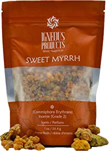 Igneous Products Myrrh Resin (28.35 grams) | Catholic Incense | Monastery Incense | Sweet Myrrh Resin | Commiphora Erythraea | Gum Incense | Somali Incense | Inciencio de Iglesia | Direct from Farmers
