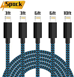 PLmuzsz MFi Certified iPhone Charger Lightning Cable 5 Pack High Speed Nylon Braided USB Fast Charging&Data Syncs Cord Compatible iPhone Xs/Max/XR/X/8/8Plus/7/7Plus/6S/6S Plus/SE/iPad/Nan (Black&Blue)
