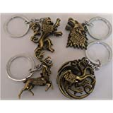 4pcs Game of Thrones Keychain Pendants Charms House Stark Direwolf Lannister Targaryen Dragon Baratheon