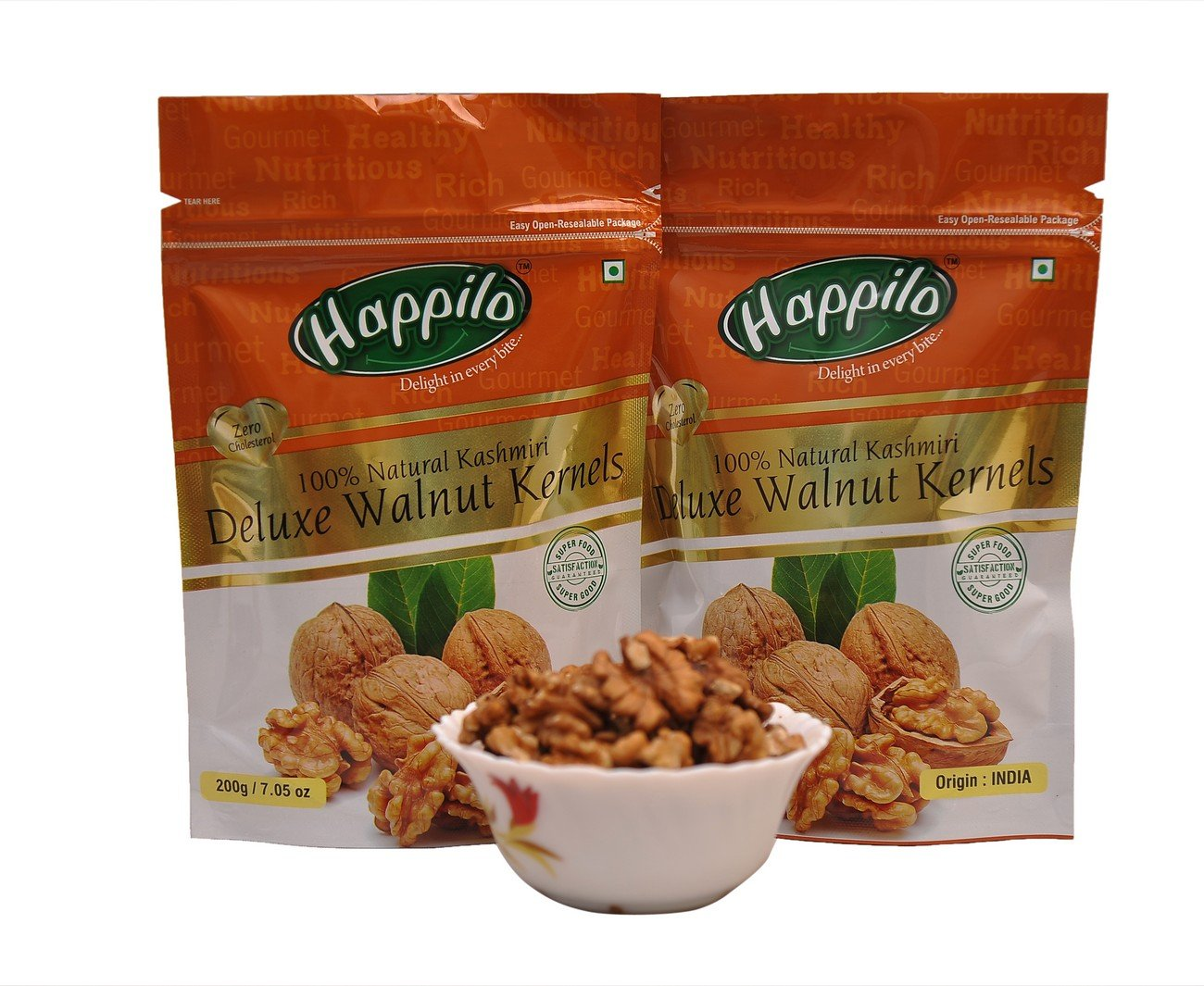 Happilo Deluxe 100% Natural Kashmiri Walnut Kernels, 200g (Pack of 2)