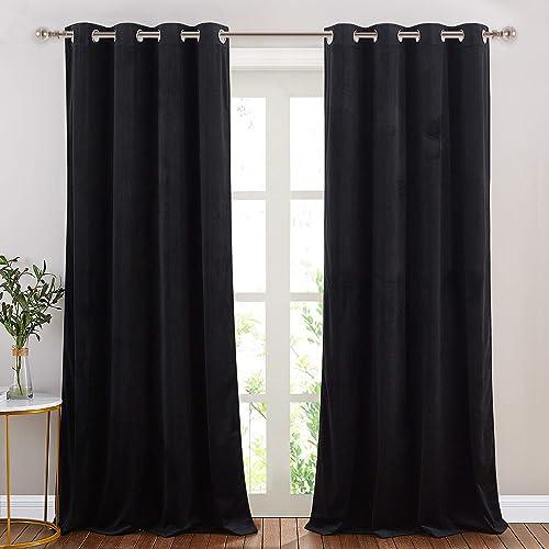 Best window curtain panel: NICETOWN Black Curtains Patio Blackout Velvet Curtain Panels