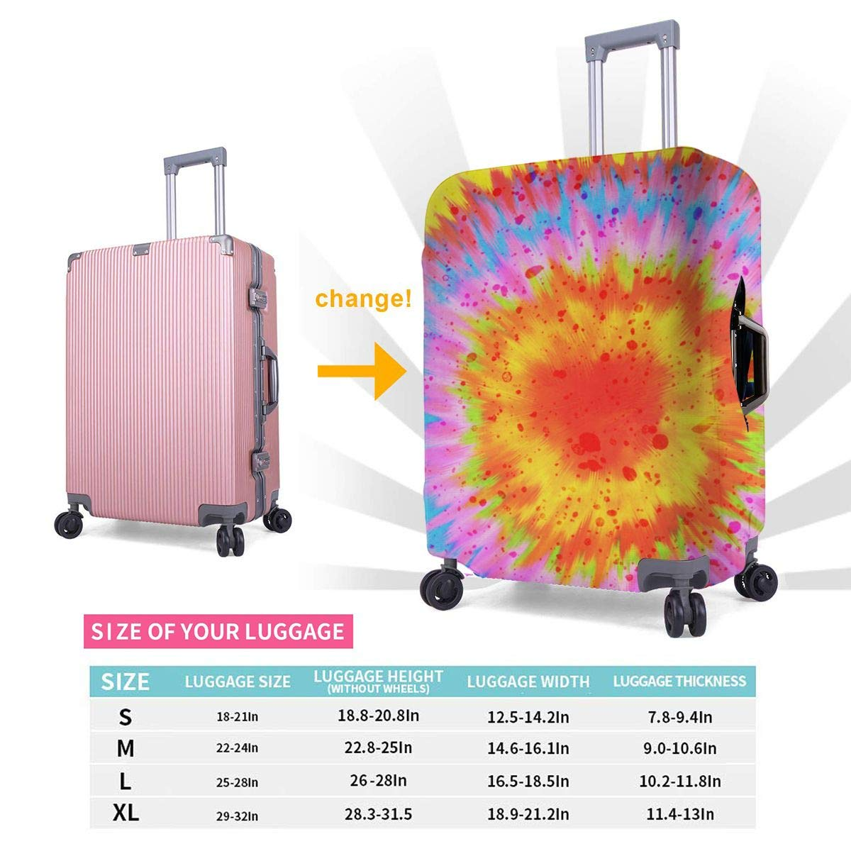 Rainbow Tie Dye Elastic Travel Luggage Cover,Double Print Fashion Washable Suitcase Protective Cover Fits 18-32inch Luggage