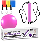 Multi-Functional Resistance Pilates Bar Kit with 3 Power Resistance Bands Portable Home Gym Workout Package, Toning Bar…