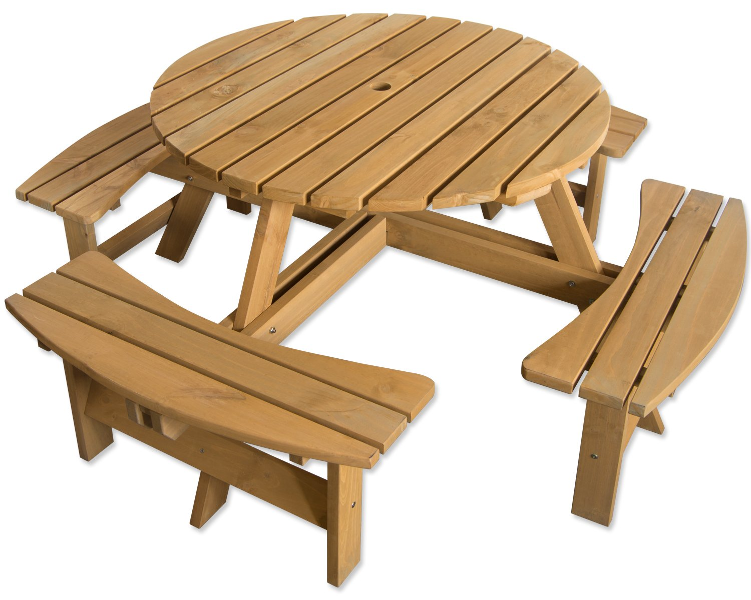 Maribelle 8 Seater Stained Pine Round Wooden Bench/Picnic Table ...