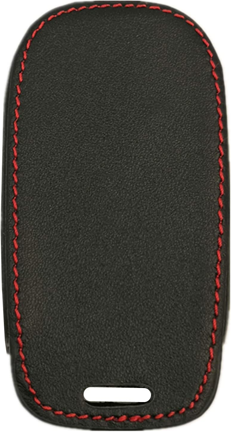 Rpkey Leather Keyless Entry Remote Control Key Fob Cover Case protector For Replacement Fit For 2019-2020 RAM 1500(5-Button with Suspension)Black red line