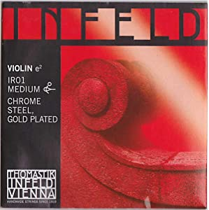 Thomastik-Infeld IR01 Red Violin Strings, Single E String, 4/4 Size, Chrome Steel, Gold Plated