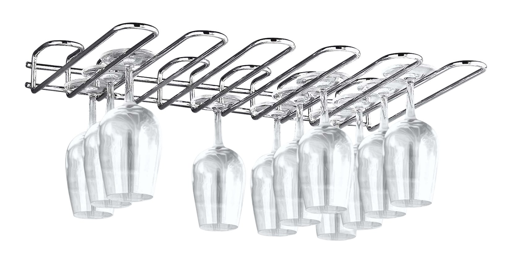 Paderno World Cuisine Chromed Steel Wall Mounted Glass Rack