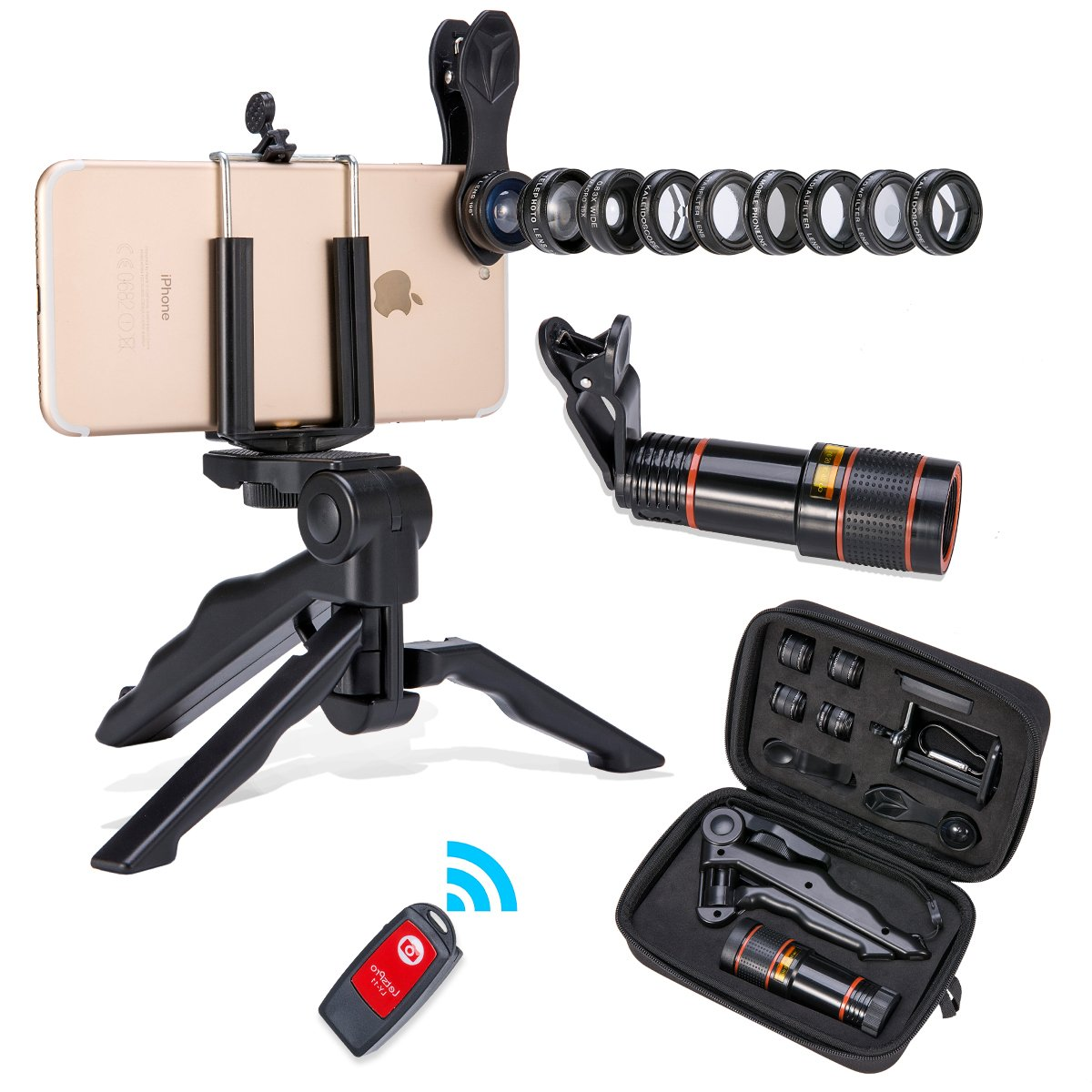 Akinger 13 in 1 Camera Phone Lens,New Generation Zoom Telephoto Lens+Fisheye +Wide Angle Lens&MacroLens+ Filter Lens+Kaleidoscope Lens+Selfie Remote Control and Tripod for iPhone and Other Smartphone by Akinger