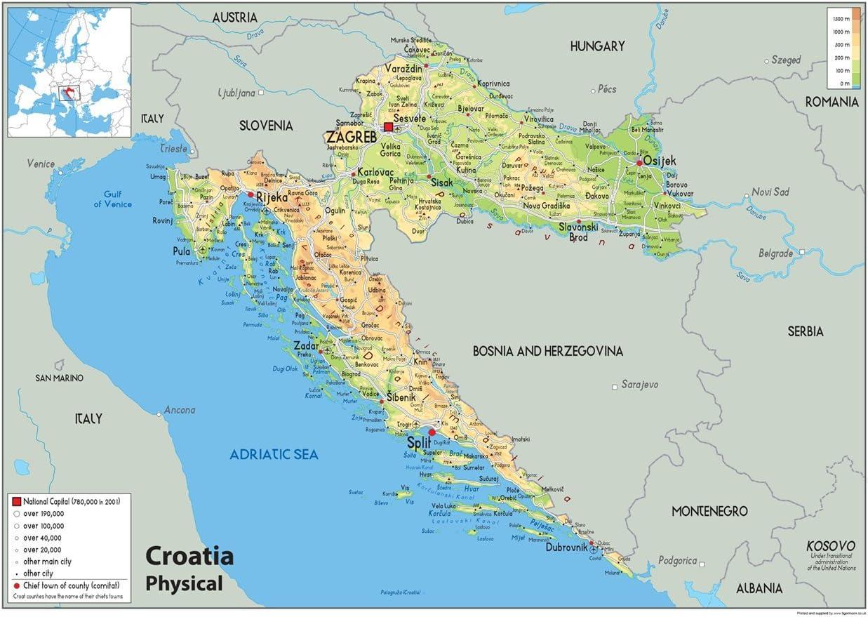 Cartina Geografica Italia Croazia.Croazia Mappa Fisica Carta Plastificata A1 Size 59 4 X 84 1 Cm Amazon It Cancelleria E Prodotti Per Ufficio