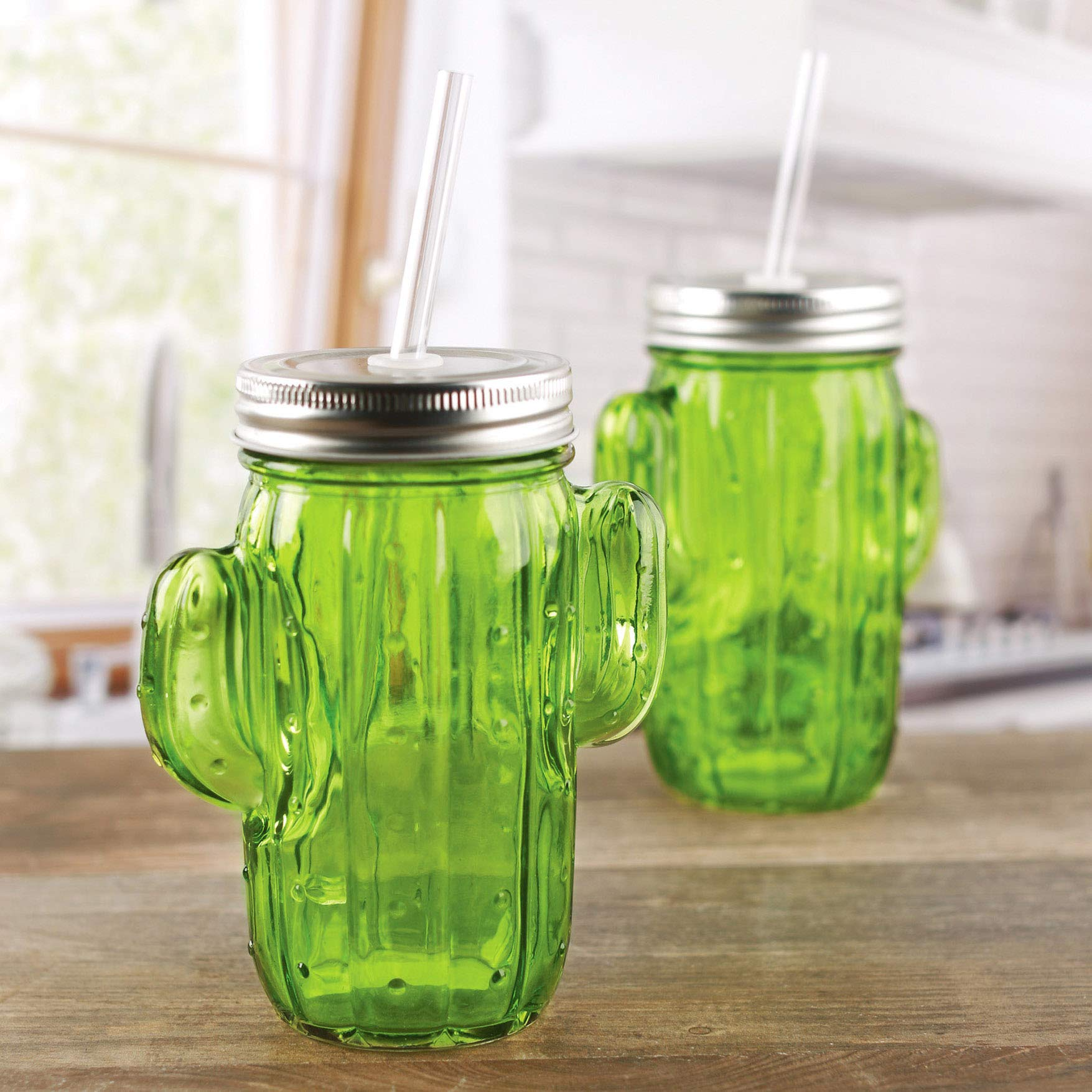 Circleware Green Glass Cactus Mason Sipper with Metal Lid and Straw, Set of 4, 15.5 Oz by Circleware (Image #2)