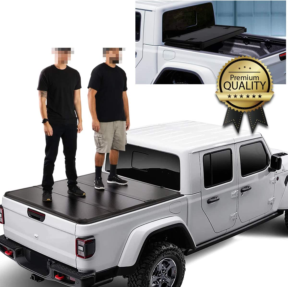 Amazon Com Dna Motoring Ttc Hard 082 Hard Top Folding Solid Tri Fold Truck Bed Tonneau Cover Automotive