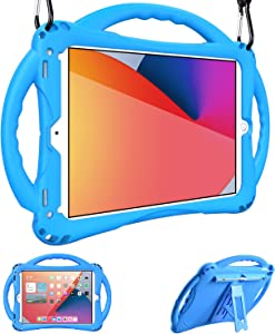 Adocham Kids case for iPad 8th & 7th Gen 10.2 (2020) iPad Air 3rd Gen 10.5 (2019)/ iPad Pro 10.5(2017), Premium Food-Grade Silicone Lightweight Shock Proof Handle Stand Kids Friendly Cover (Blue)