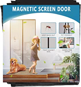 """Aoocan Magnetic Screen Door - Door Net Screen with 26 Magnets Heavy Duty Mesh Curtain, Door Screen Magnetic Closure. Fits Door Size up to 34"""" x 82"""" Keeps Bugs Out"""