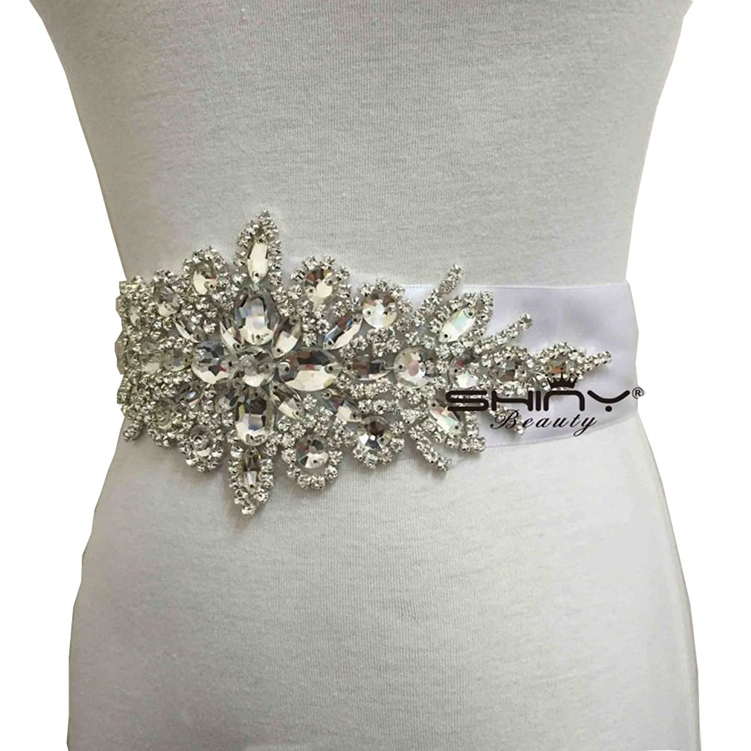 Shiny Beauty 2017 Wedding dress crystal beaded embellishment sash belt