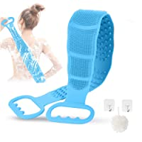 Ctumg Silicone Back Scrubber for Shower, Exfoliating Long Bath Body Brush Thickened Back Washer Improve Back Acne Dual Side Silicone Body Back Scrubber with Handle for Men and Women (Blue)