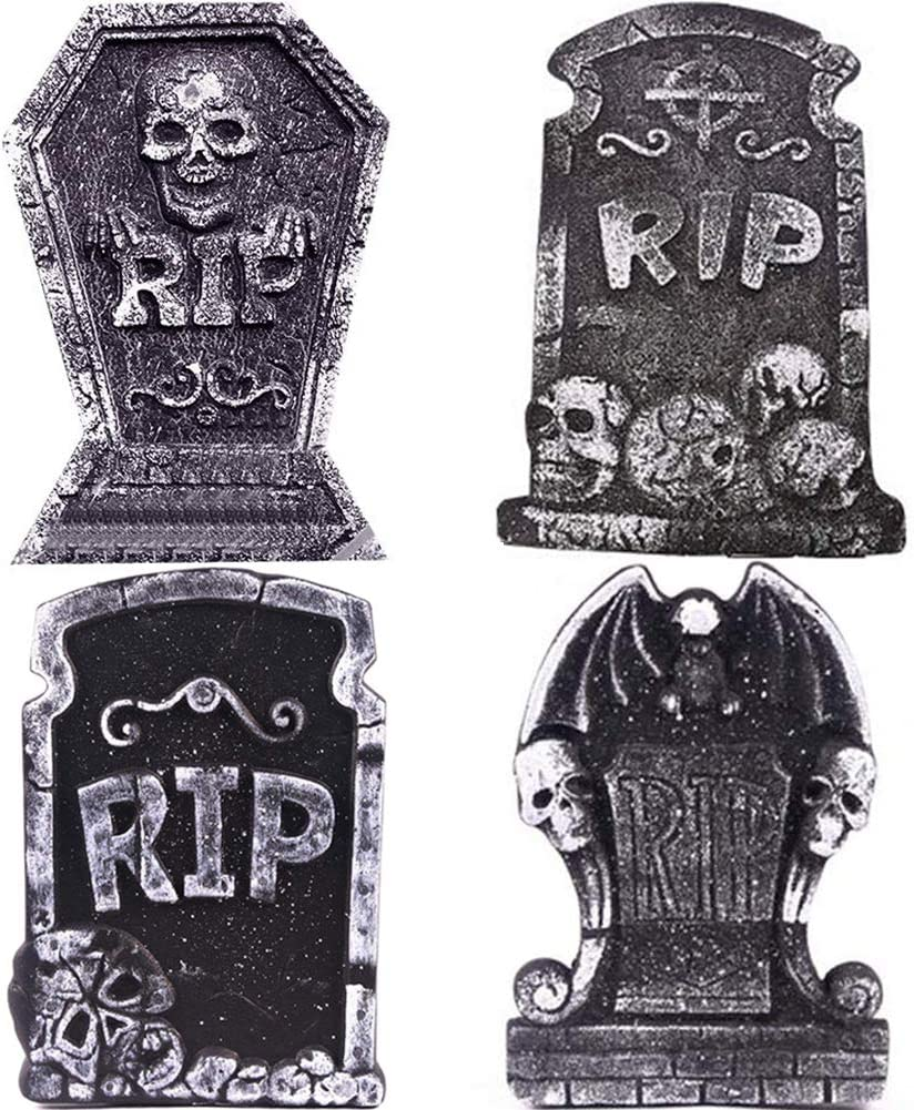 """WESJOY Halloween 17"""" Foam RIP Graveyard Tombstones Decorations, 4 Pack Lightweight Halloween Yard Headstone Decor Party Accessories for Haunted House, Graveyard and Outdoor Lawn"""