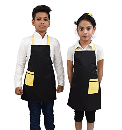 Switchon Waterproof Kids Apron for Multi Purpose Cooking Painting and School Apron with Front Pocket Pack of 2 Apron